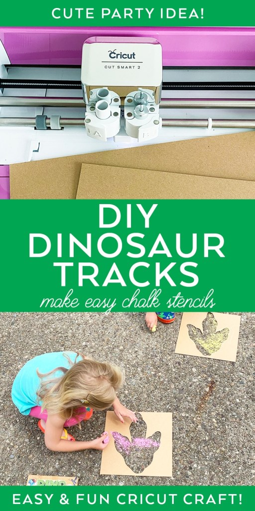 Cricut Dinosaur Tracks Stencil EASY Outdoor Kid Activity by Pineapple Paper Co.