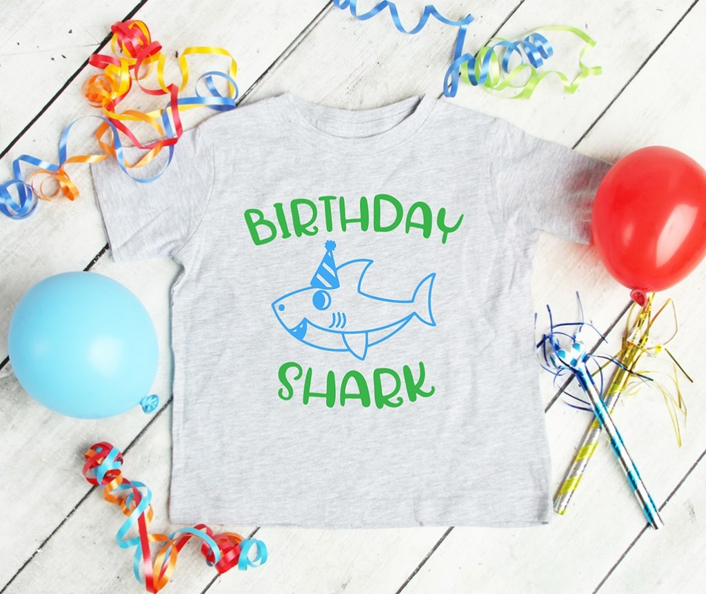 Free Birthday Shark SVG Shirt by Pineapple Paper Co.