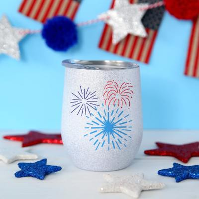 Fireworks 4th of July Wine tumbler with Free SVG by Pineapple Paper Co.