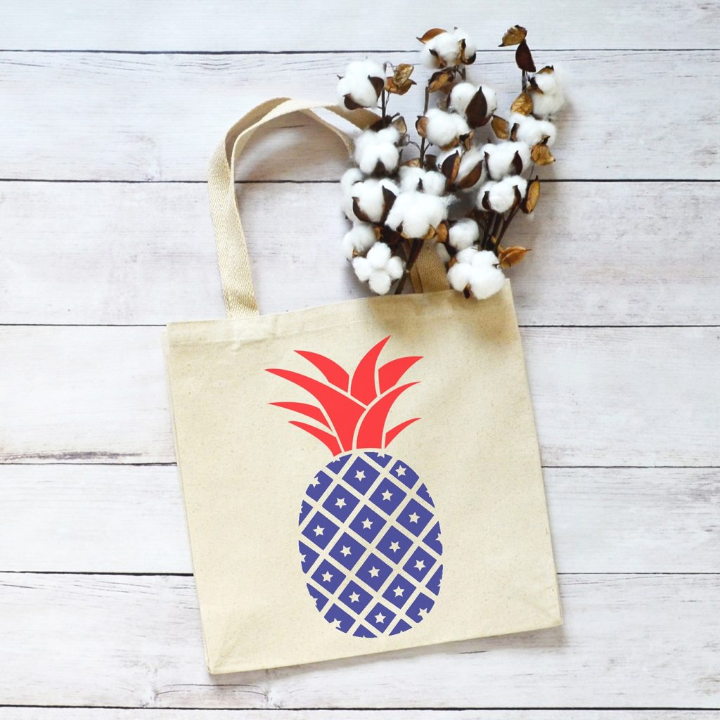 Red White and Blue Patriotic Pineapple Tote Bag by Pineapple Paper Co. with Free SVG