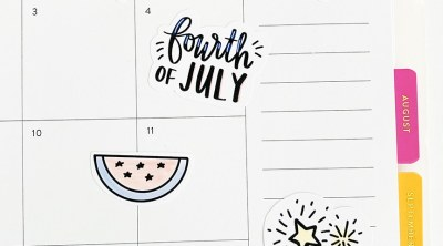 4th of July Printable Patriotic Stickers on Planner by Pineapple Paper Co.