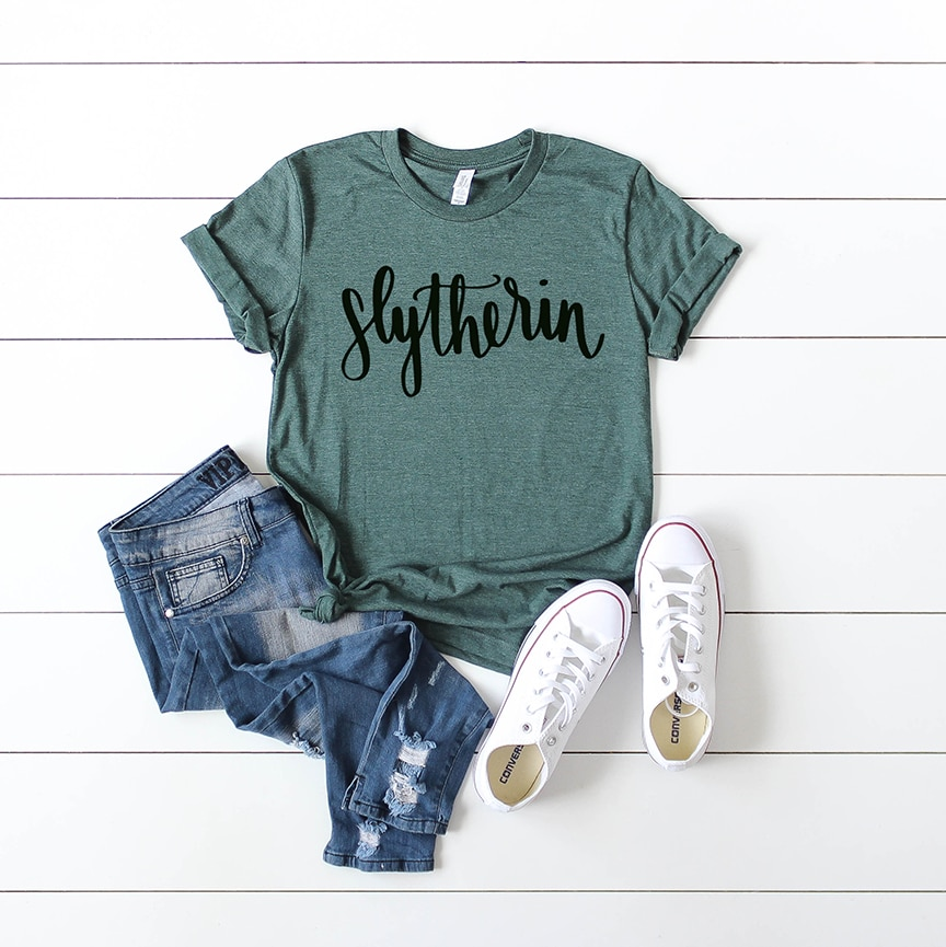 Slytherin Shirt with Handlettered Hogwarts House SVG File by Pineapple Paper Co.