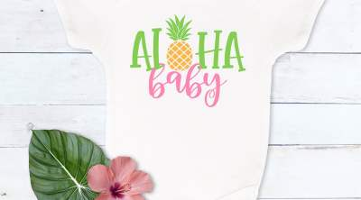 Aloha Baby Onesie with SVG by Pineapple Paper Co.
