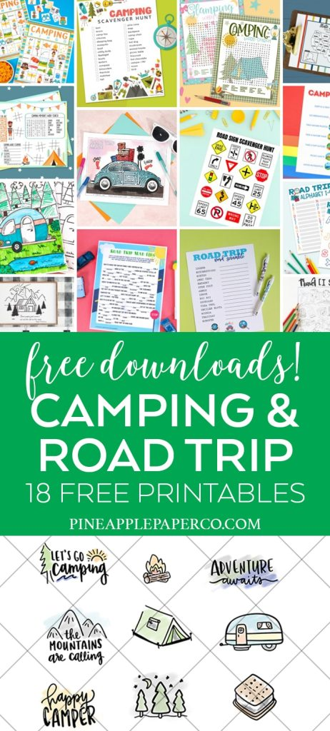 18 Free Camping and Road Trip Printables to Download at Pineapple Paper Co.