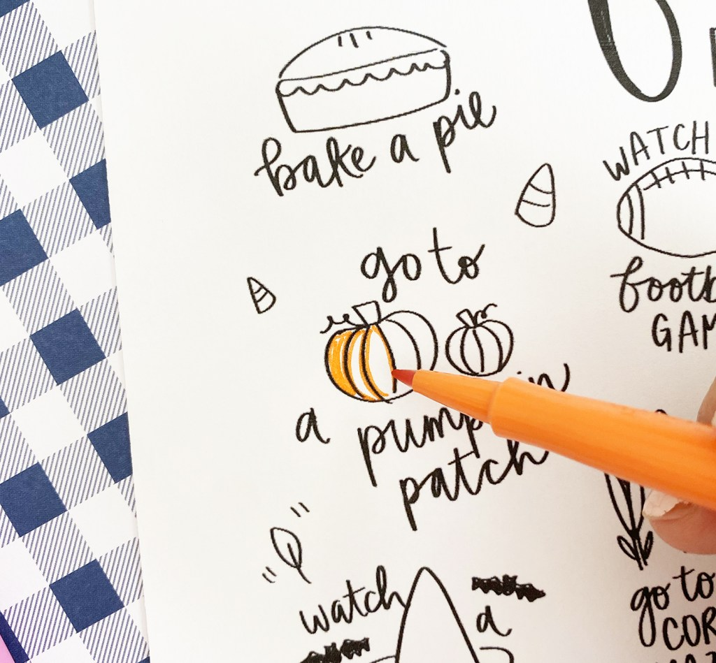Fall Bucket List Coloring Page with Markers