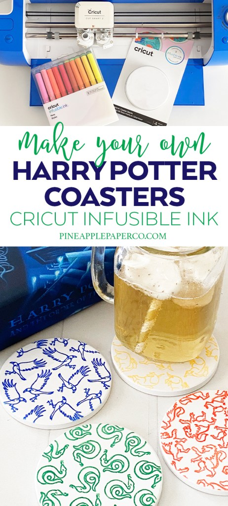 Cricut Infusible Ink DIY Harry Potter Coasters with Hogwarts House Icons