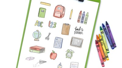 Free Printable Back to School Stickers from Pineapple Paper Co. on Green Clipboard
