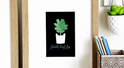 Foil Fiddle Leaf Fig Art Print made with Cricut Foil