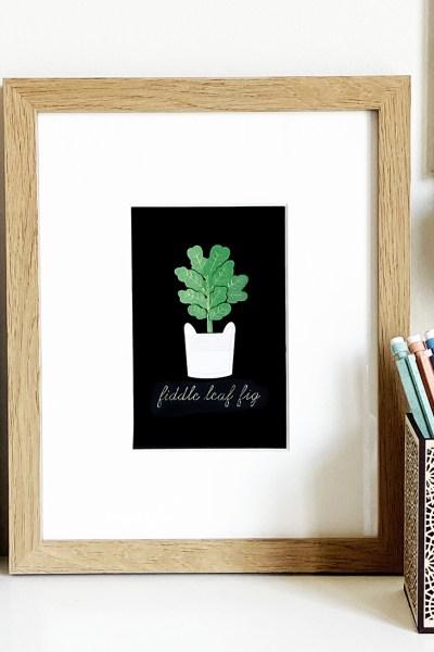 Foil Fiddle Leaf Fig Art Print made with Cricut Foil
