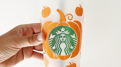 Starbucks Cold Cup with Pumpkin Vinyl Cup Wrap Made with Cricut - FREE SVG at PIneapple Paper Co.