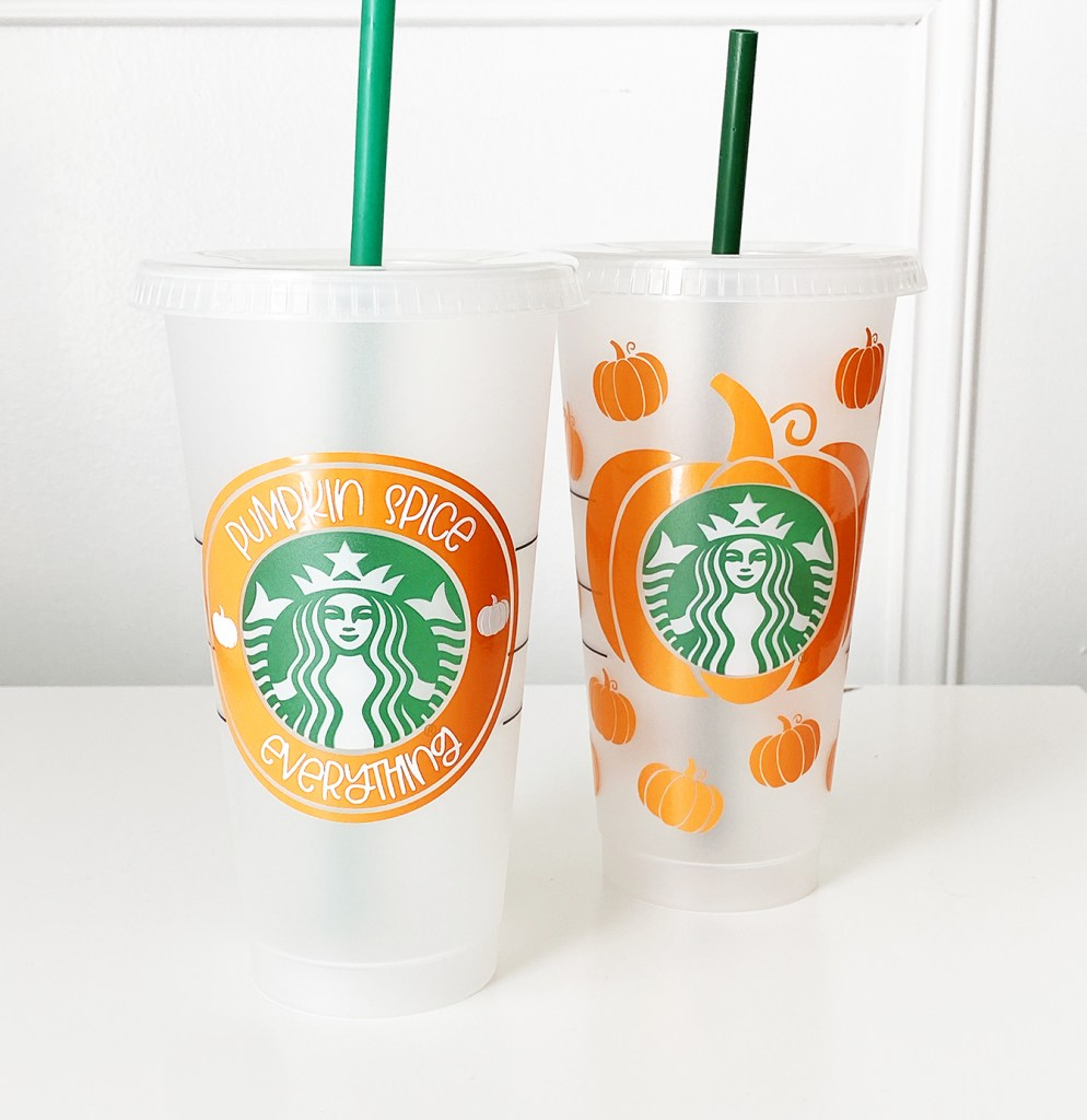 Pumpkin Vinyl Decals on Starbucks Cold Cups with Cricut