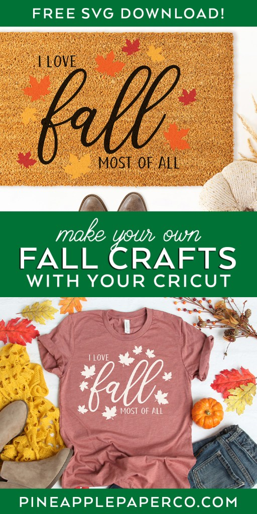 Free I Love Fall Most of All SVG for Cricut and Silhouette