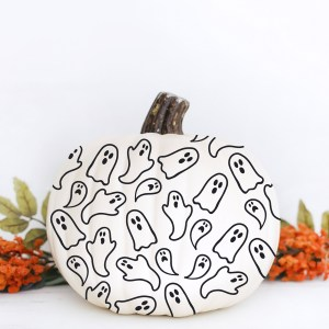 Ghost No Carve Halloween Pumpkin with FREE SVG