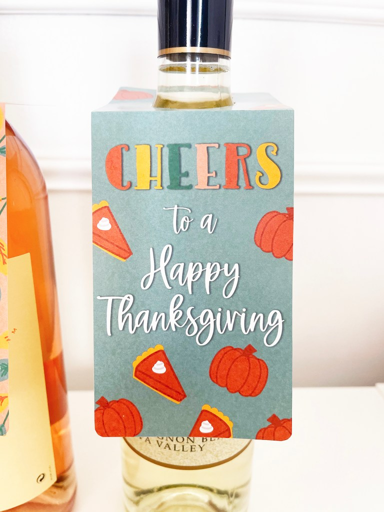 Cheers to a Happy Thanksgiving Printable Wine Tag