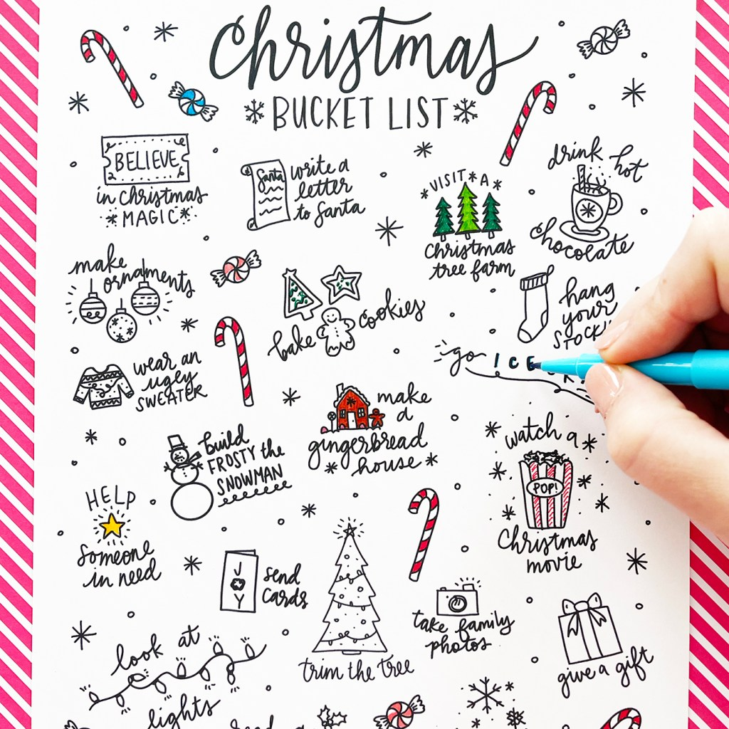 Coloring a Free Printable Christmas Bucket List Coloring Page