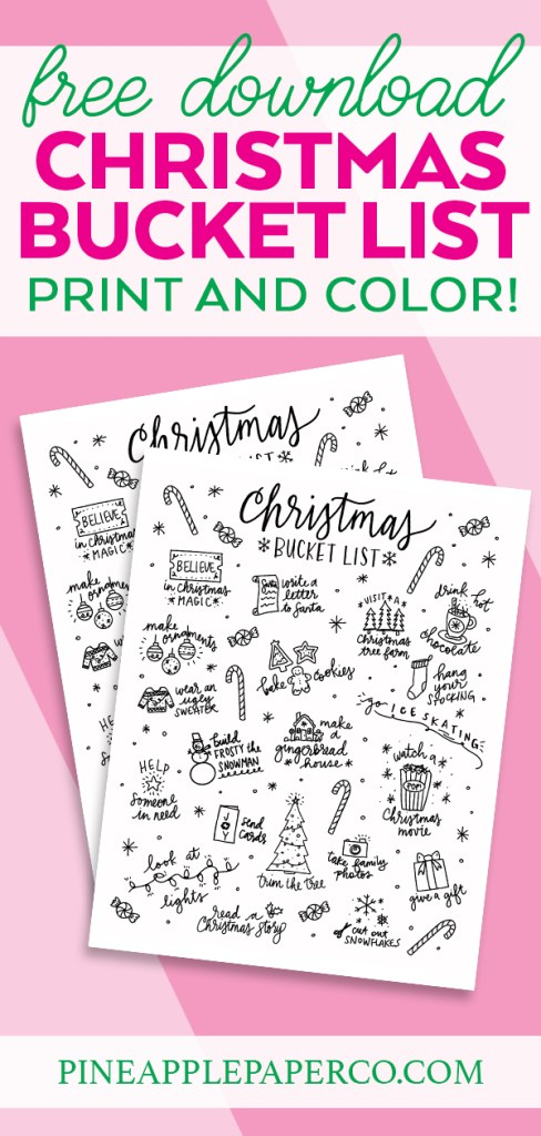 Free Download Christmas Bucket List Printable Coloring Page