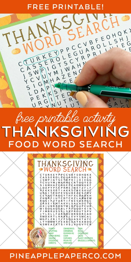 Thanksgiving Word Search Free Printable