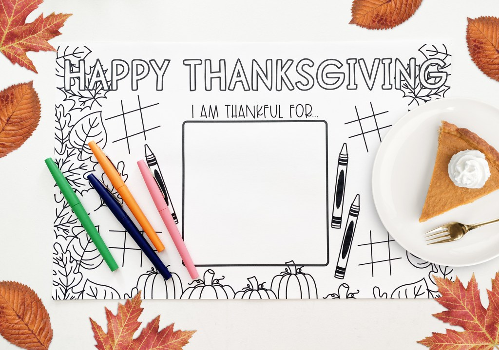 Free Thanksgiving Placemat Printable Coloring Page