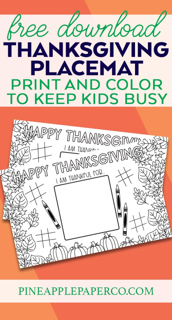 Free Printable Thanksgiving Placemat to Color