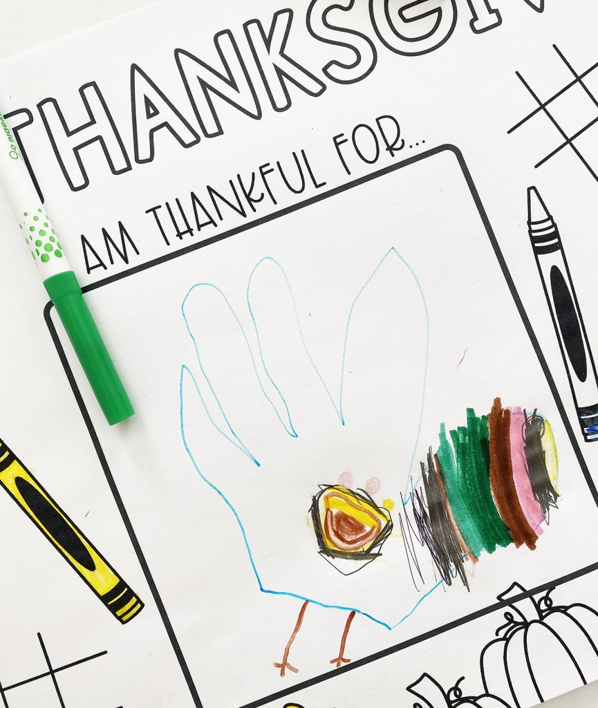 Thanksgiving Placemat Coloring Page for Toddlers