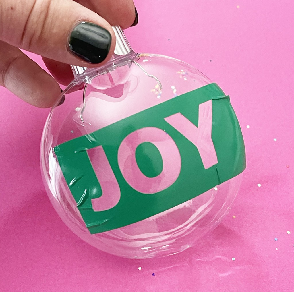DIY Glitter Joy Ornament with Cricut Vinyl Stencil