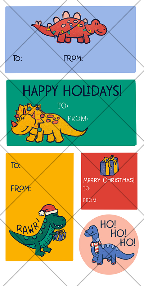 Dinosaur Christmas Printable Gift Tag Stickers from Pineapple Paper Co.