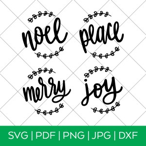 Hand Lettered Ornament SVG Files with Wreaths