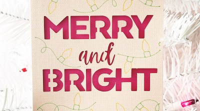 Pink DIY Merry and Bright Christmas Card with Cricut Joy