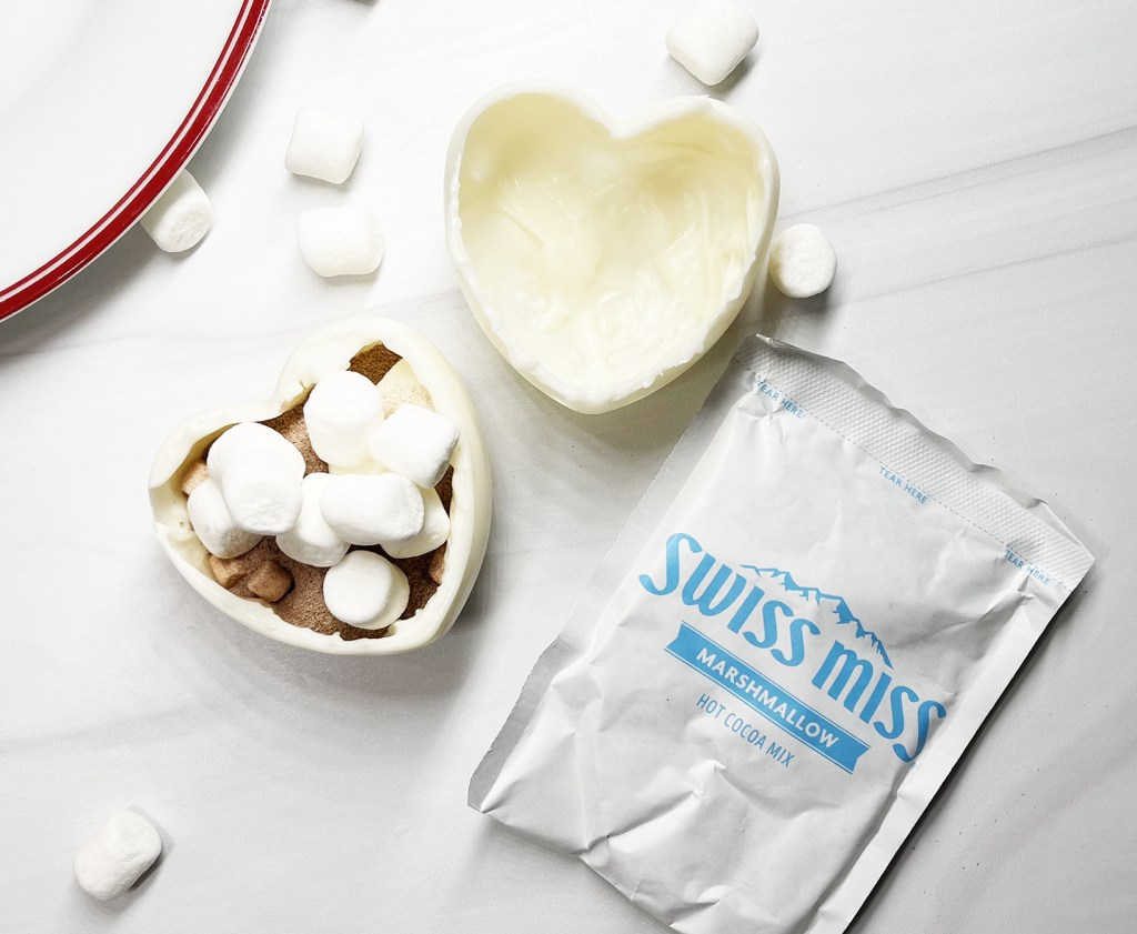 Open Valentine Heart Hot Chocolate Bomb with Swiss Miss Hot Chocolate and Mini Marshmallows