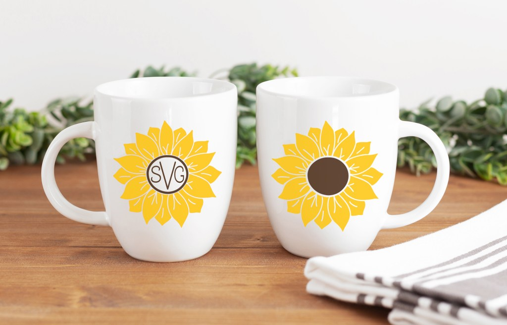 DIY Sunflower Mug with Free SVG Files on Wooden Table