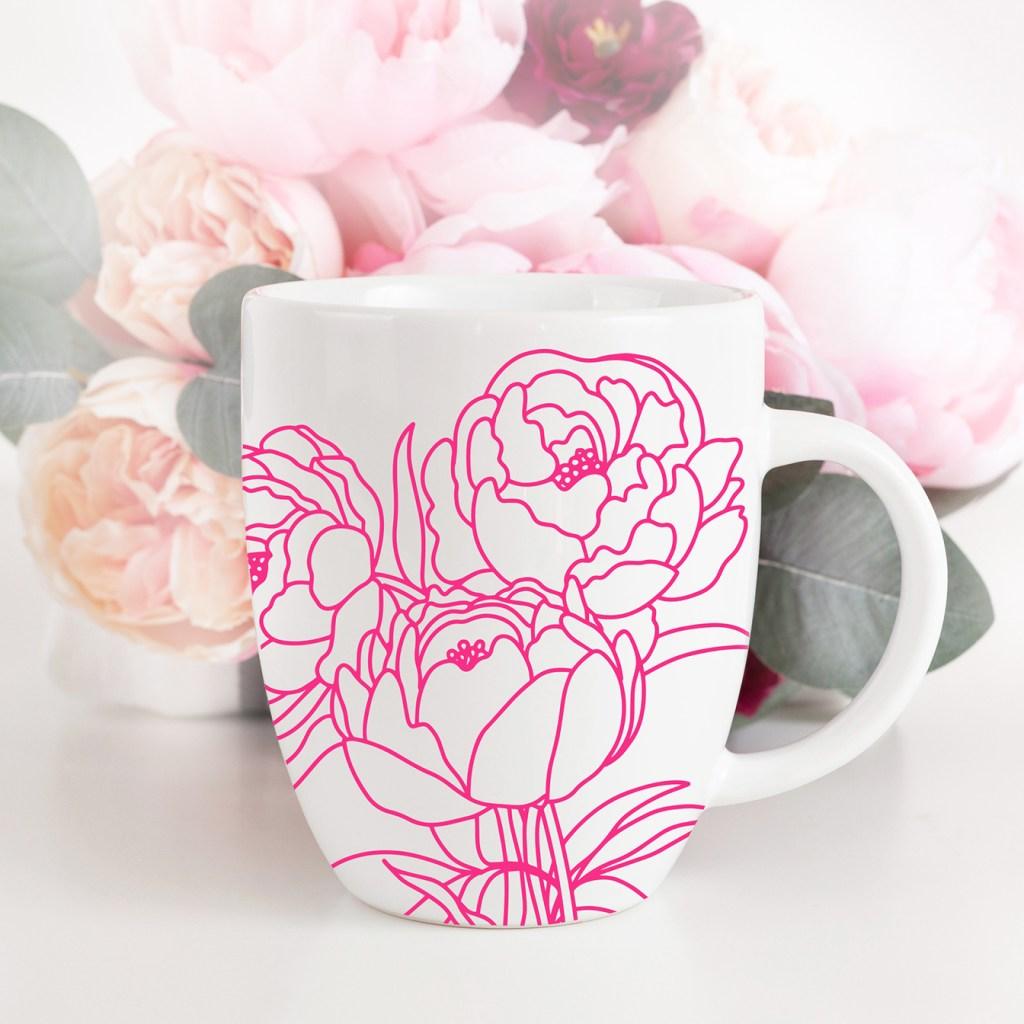 Free Peony Flower SVG in Pink Vinyl on DIY Mug