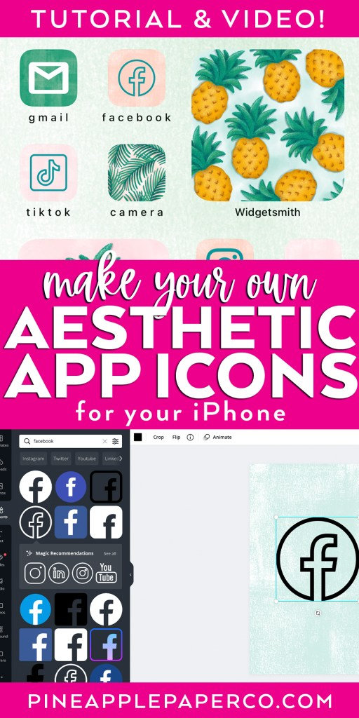 Make your own Aesthetic App Icons for your iPhone with example and screenshot of Canva