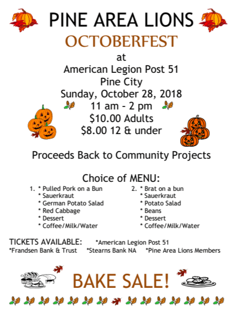 Octoberfest flyer for Pine Area Lions