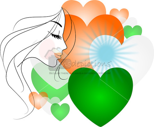 Stock vector - Side profile of beautiful woman with hearts of Indian flag colors.