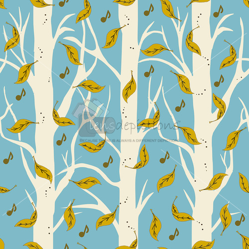 Seamless surface pattern with free falling autumn leaves in the woods with musical notes!
