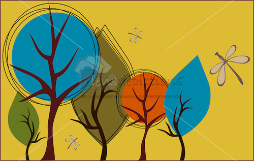 Stock vector graphic of whimsical graphical shaped trees in fall.