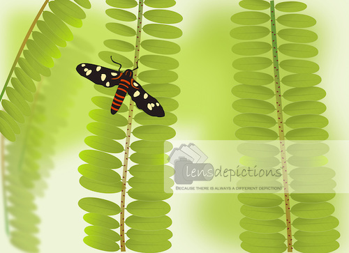 Stock vector - butterfly sitting on tree branch with tiny green leaves