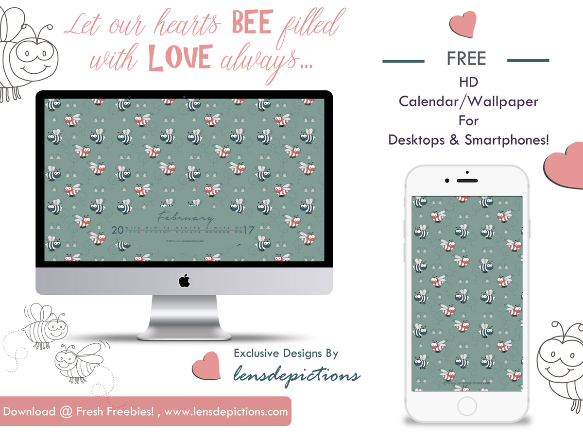Cute Bees seamless pattern + Free wallpapers bundle for Feb 2017!