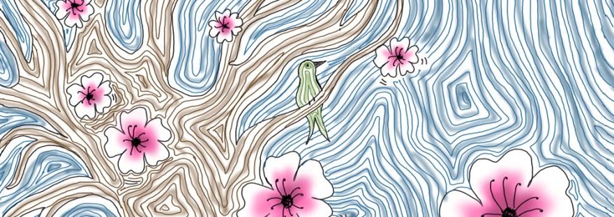 cherry blossom tree sketch