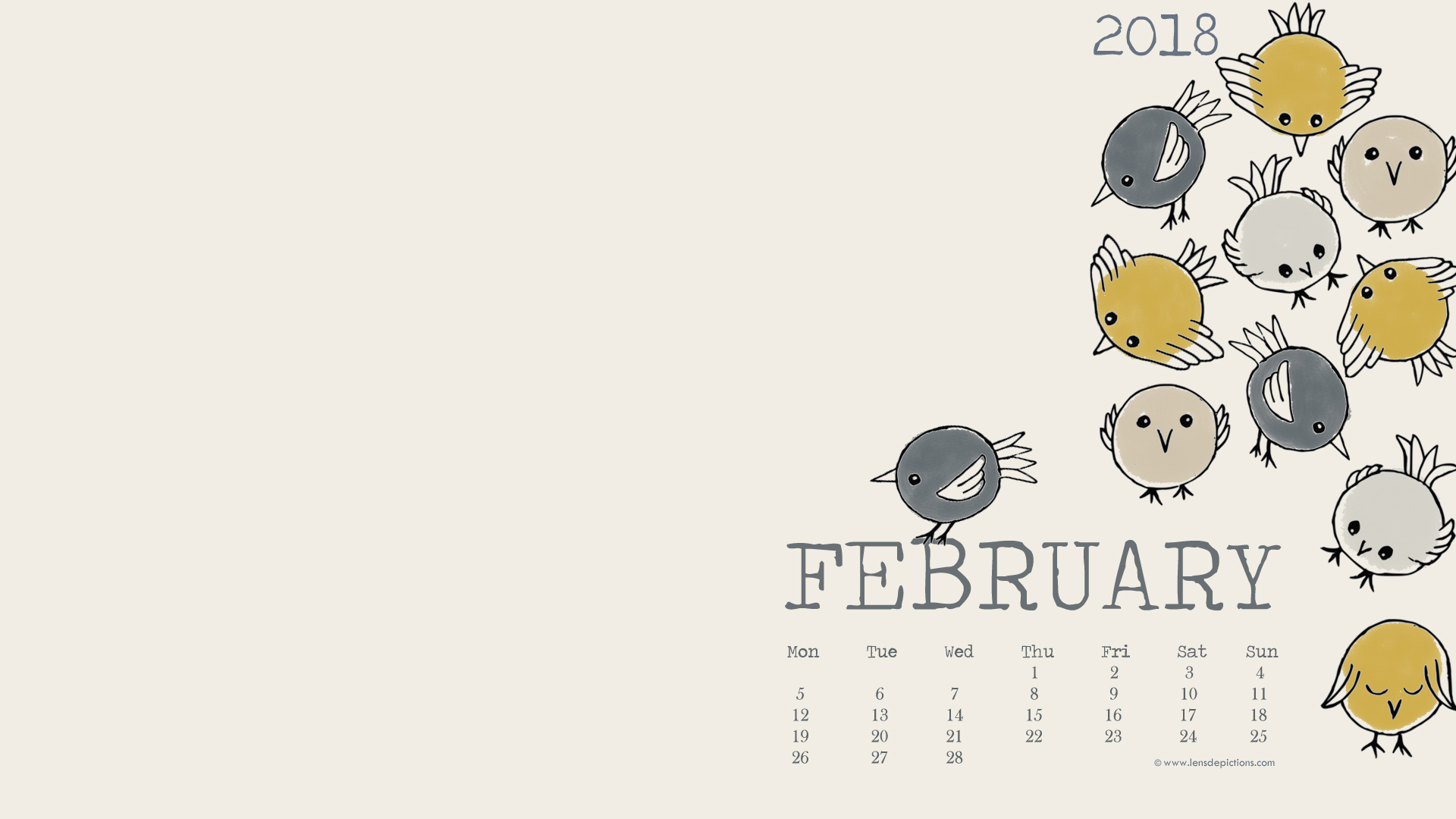 Feb 2018 Desktop Calendar Wallpaper