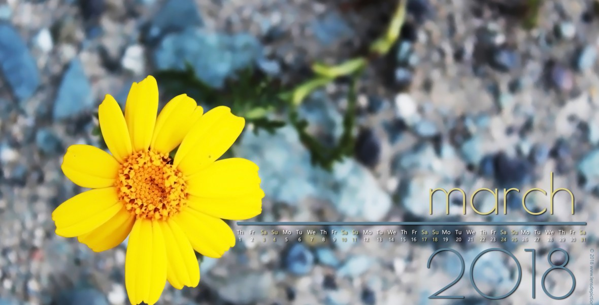 March 2018 Free Desktop Wallpaper Calendar