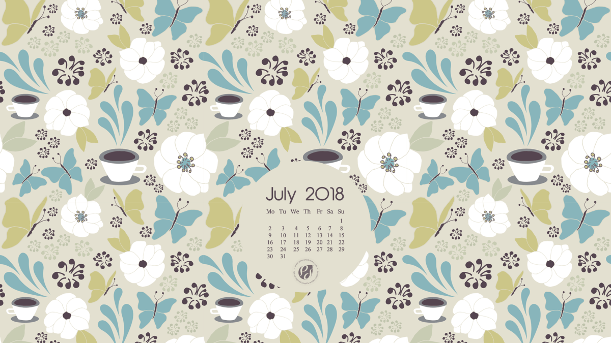 July 2018 Free Wallpapers/Calendars & Printable Planner, Illustrated - Coffee In The Garden!