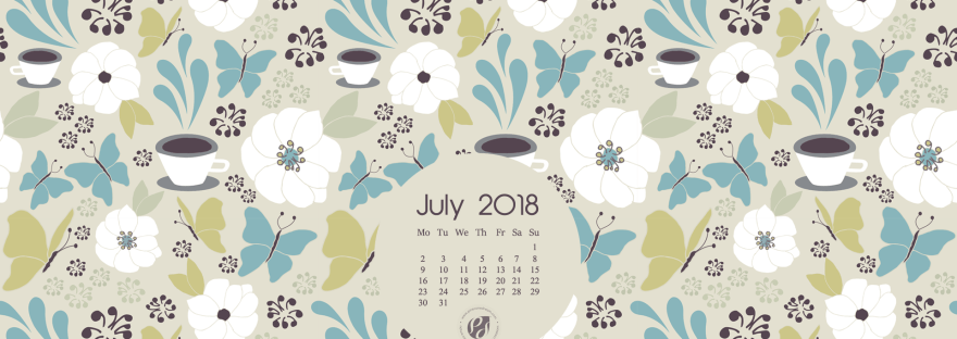 July 2018 Free Wallpapers/Calendars  Printable Planner, Illustrated  Coffee In The Garden