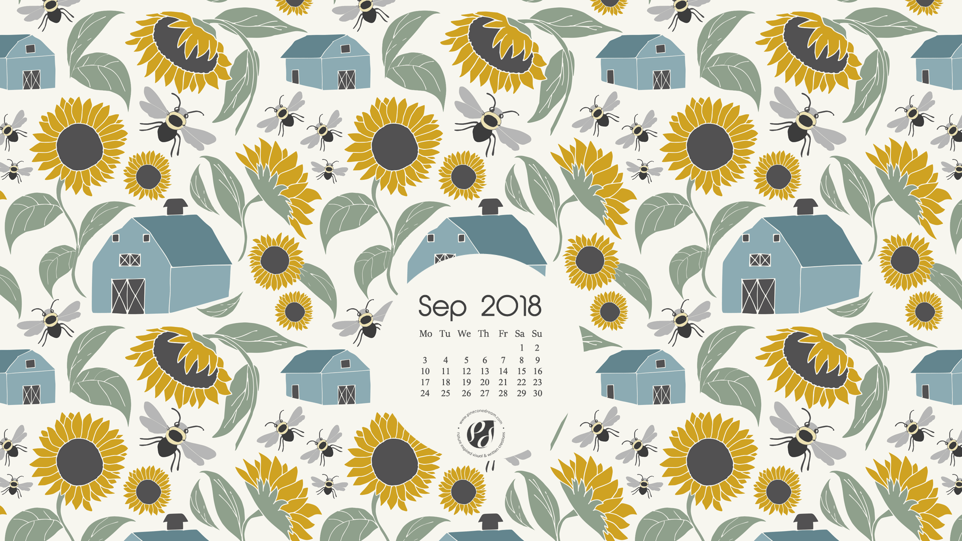 September 2018 Free Wallpapers/Calendars & Printable Planner, illustrated – At Sunflower Farm!