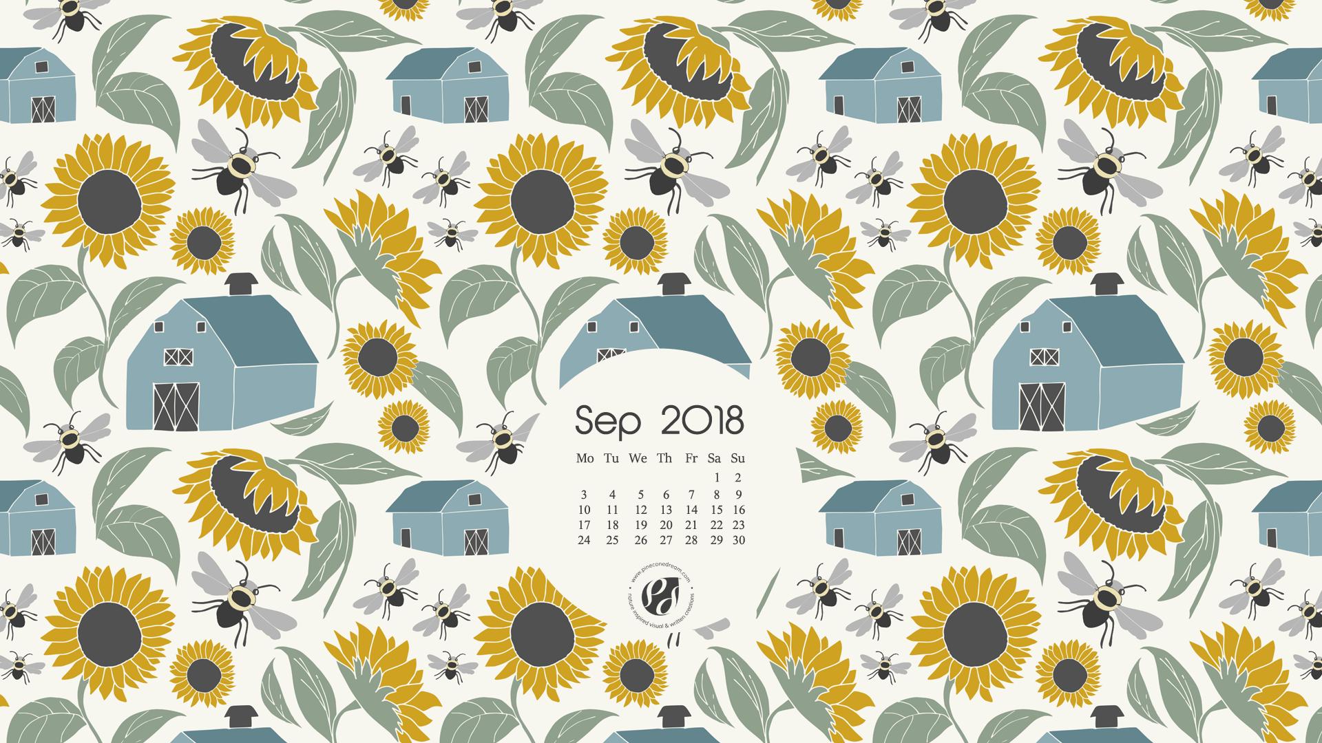 September 2018 Free Wallpapers/Calendars & Printable Planner, illustrated – At Sunflower Farm!