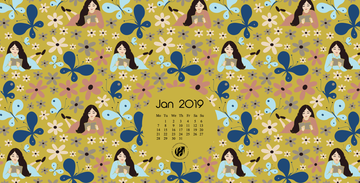 Illustrated desktop calendar background Jan 2019