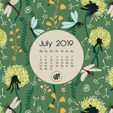 July 2019 free calendar wallpapers & printable planner, illustrated – Dandelion Day!