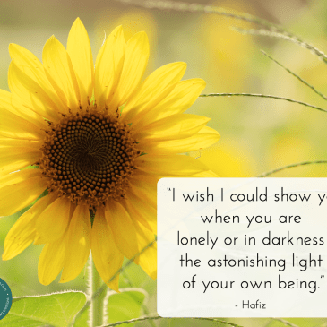 A self-belief inspirational quote by Hafiz, with nature background