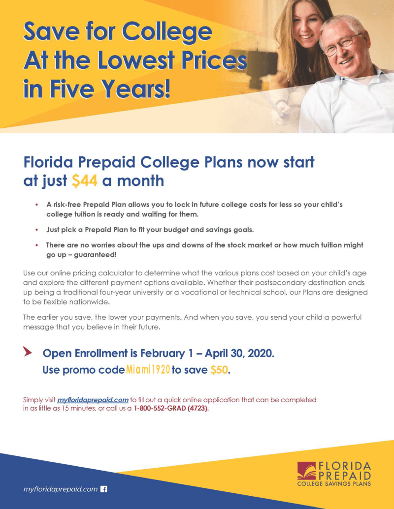 Florida Prepaid Program Enrollment for Families Flyer