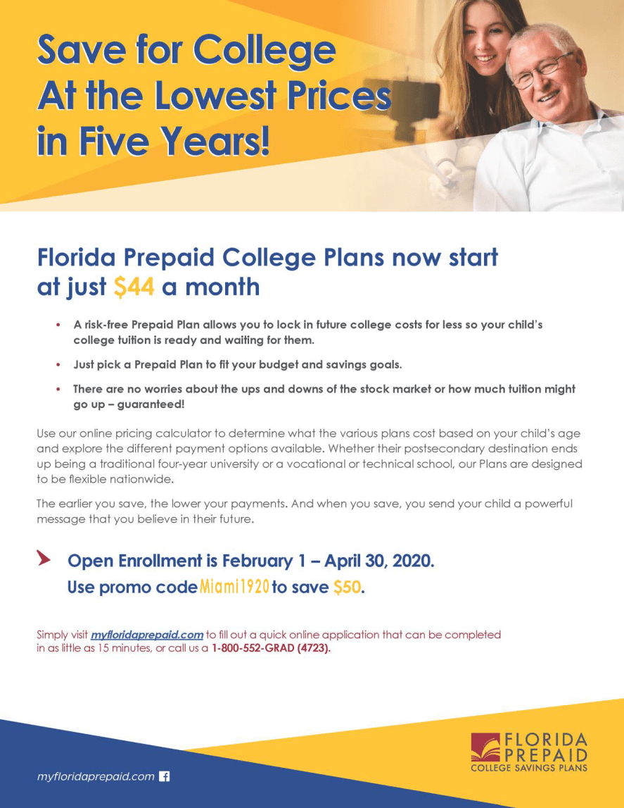 Florida Prepaid Program Enrollment for Families Flyer